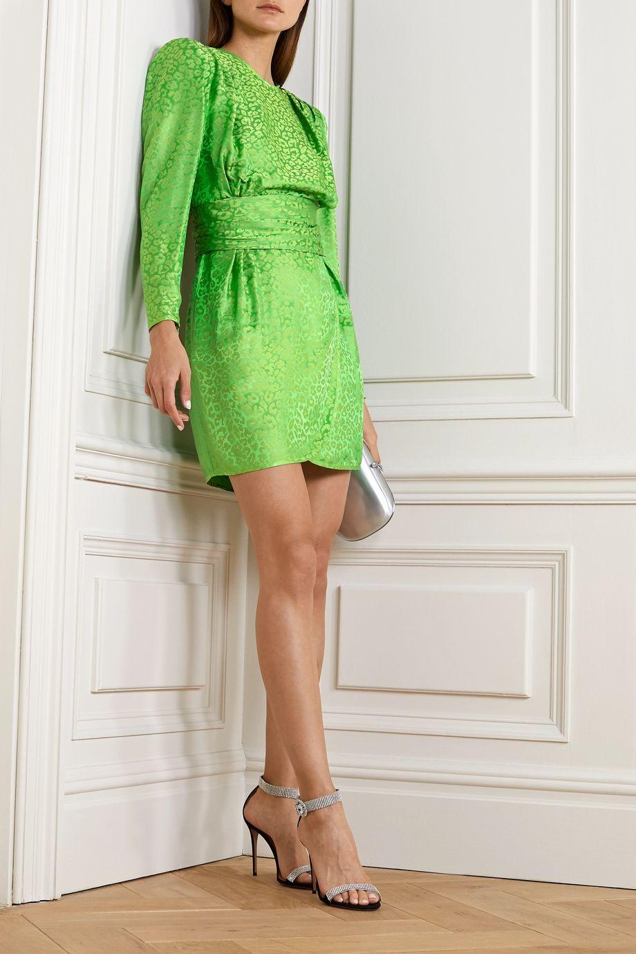Dundas Wrap-effect satin-jacquard mini dress