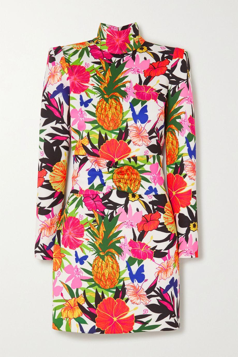 Dundas Lace-paneled printed stretch-jersey mini dress