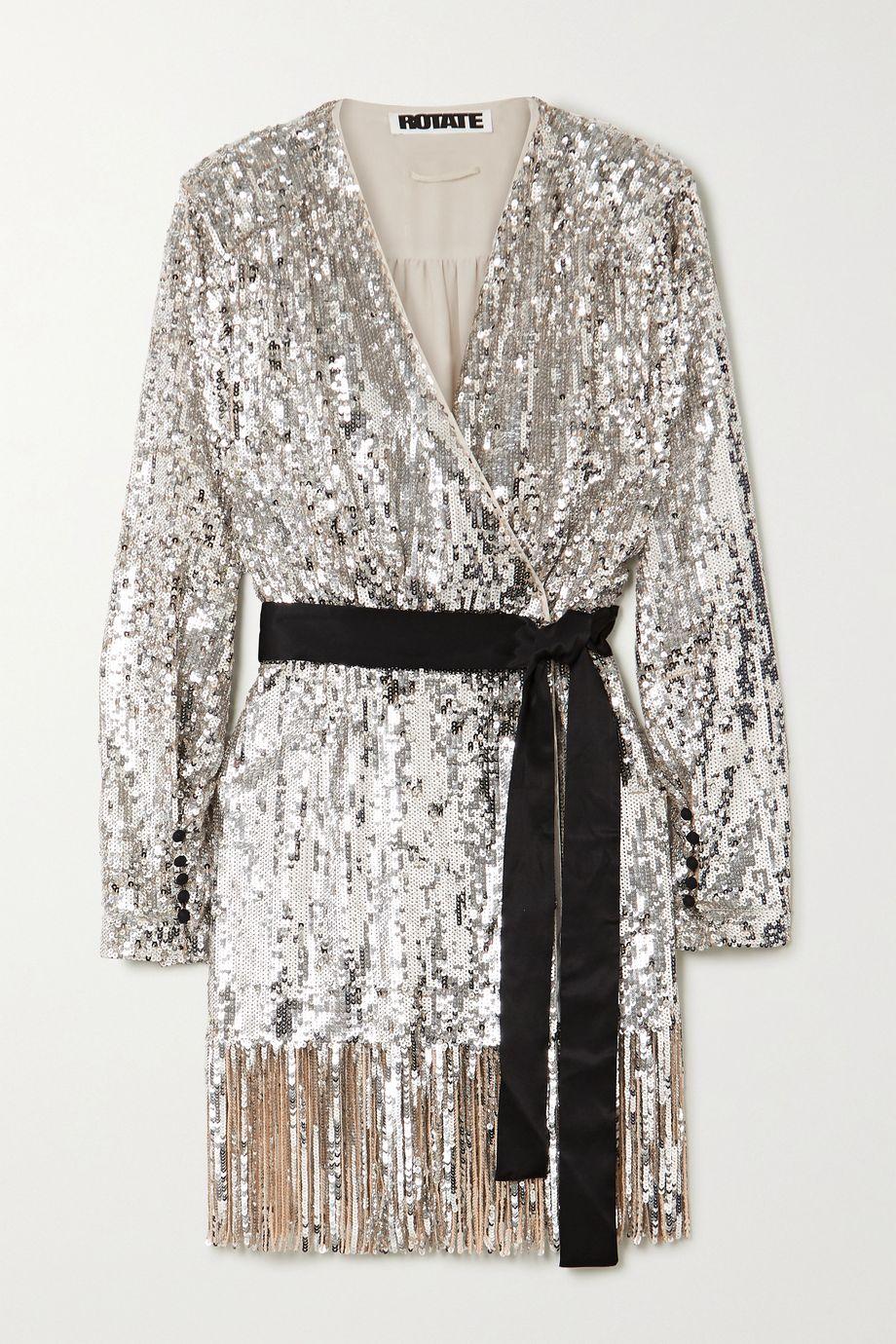 ROTATE Birger Christensen Samantha belted fringed sequined tulle wrap dress