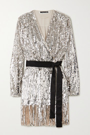 ROTATE Birger Christensen Samantha belted fringed sequined tulle wrap dress
