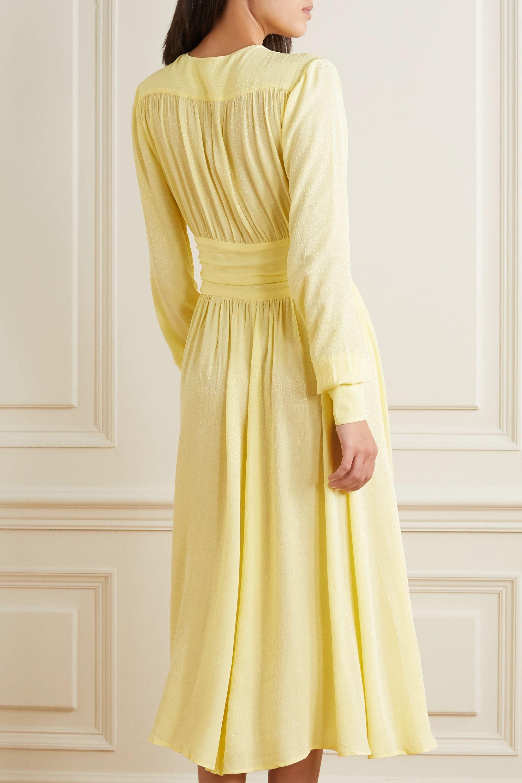ROTATE Birger Christensen Tracy ruched jacquard midi dress