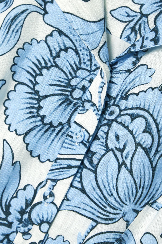 Erdem Kasia Midikleid aus Leinen mit Blumenprint