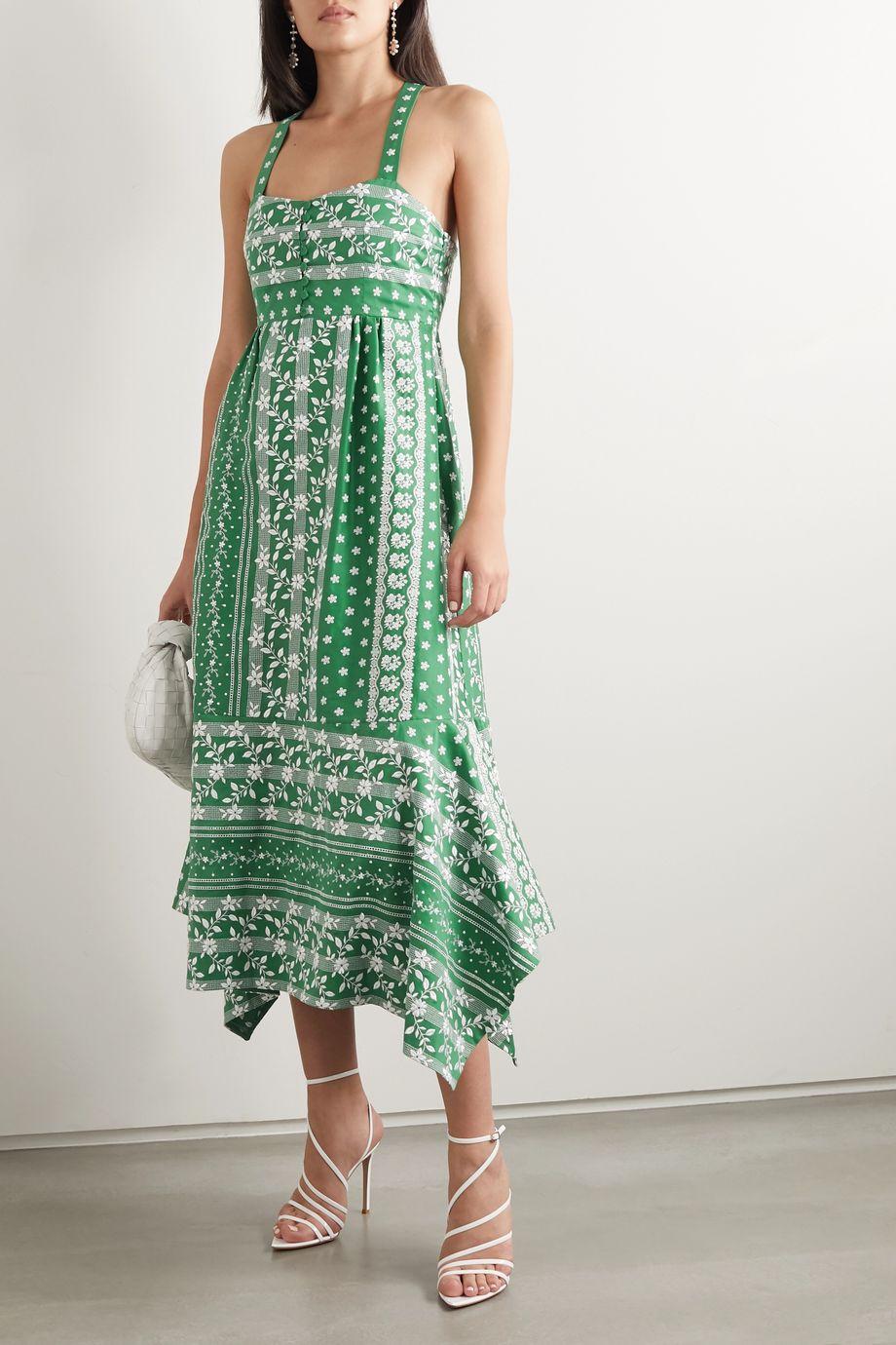 Erdem Oleanna asymmetric embroidered cotton and silk-blend midi dress