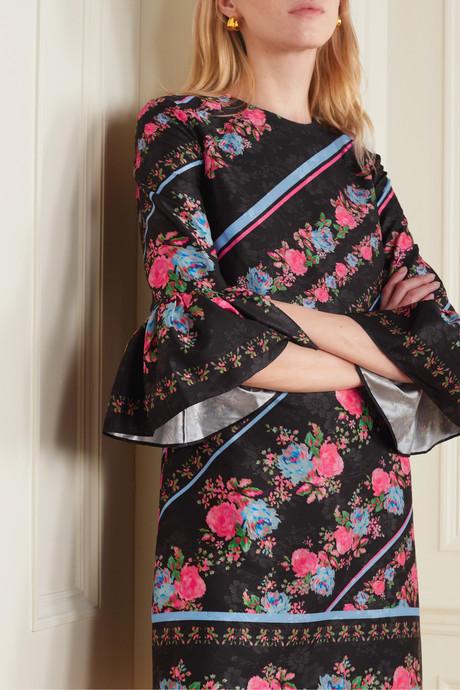 Elijah floral-print satin-jacquard mini dress