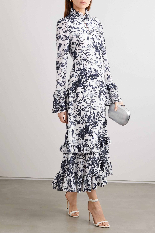 Erdem Miguella ruffled printed silk crepe de chine midi dress