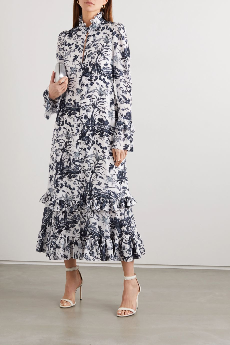 Erdem Miguella ruffled printed silk crepe de chine midi dress