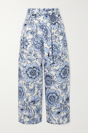 Everett cropped floral-print linen wide-leg pants
