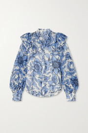 Caterina ruffled floral-print cotton and silk-blend voile blouse