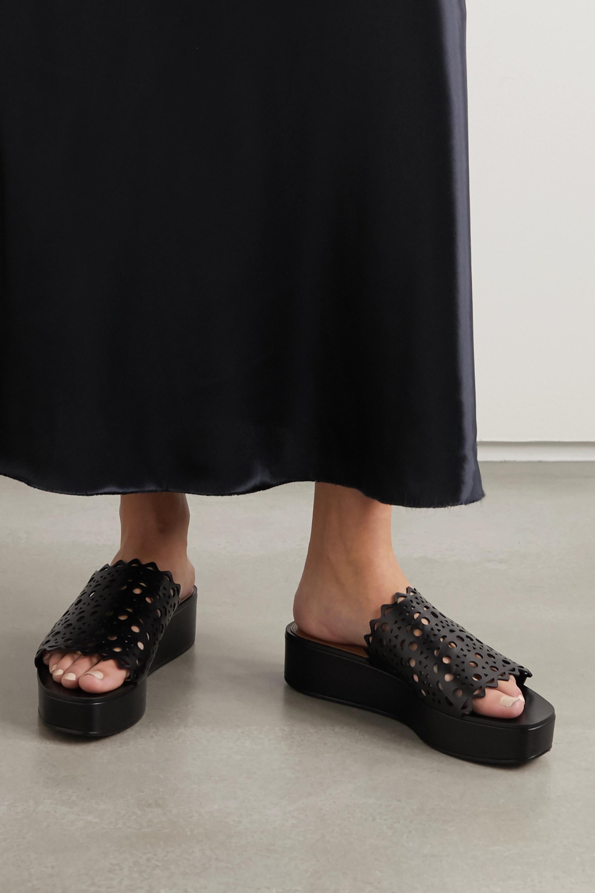 black leather platform slides