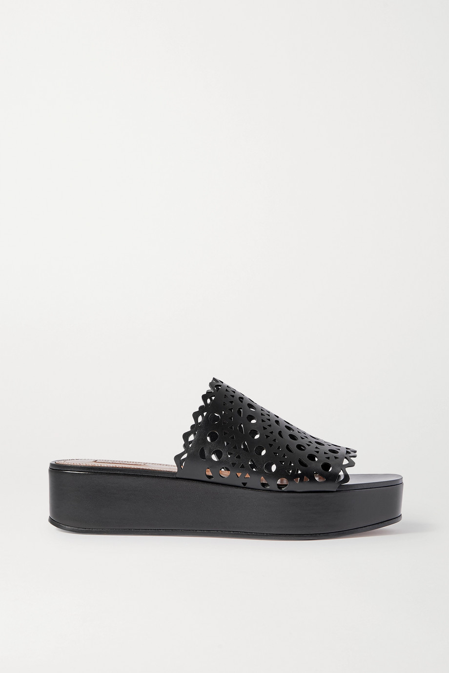 Alaïa Laser-cut leather platform slides