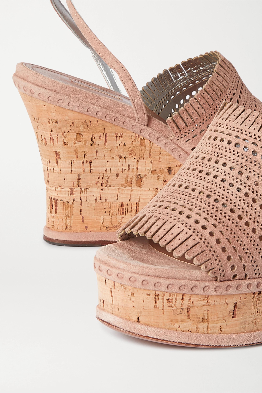 Alaïa 110 fringed laser-cut suede wedge sandals