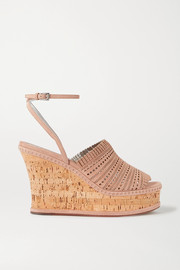 110 fringed laser-cut suede wedge sandals