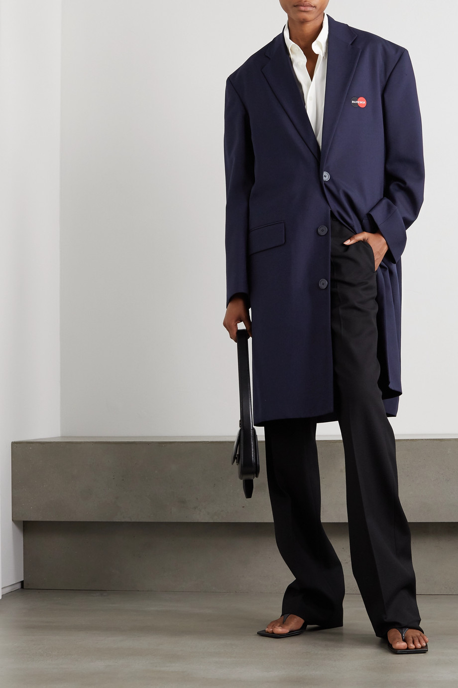 Balenciaga Embroidered wool-blend coat