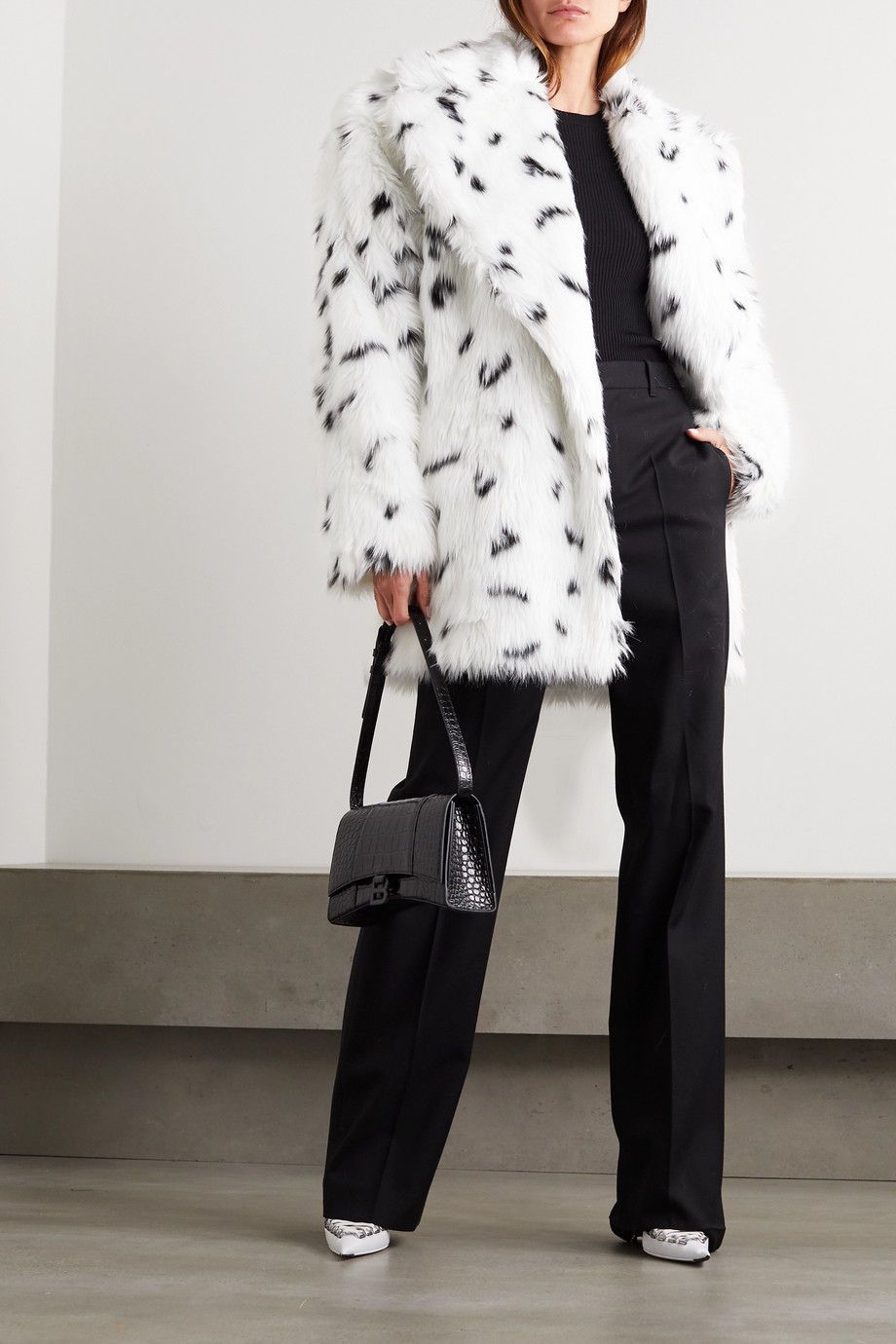 Balenciaga Oversized belted printed faux fur coat