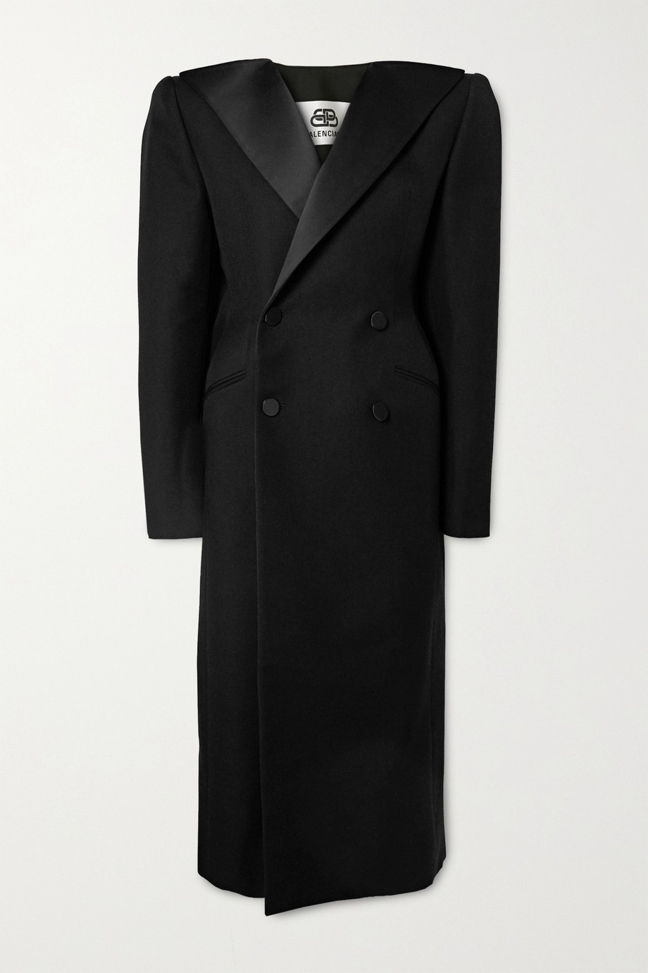 Balenciaga Satin-trimmed wool-twill coat