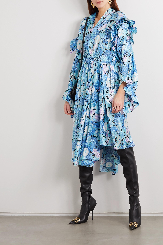 Balenciaga Asymmetric ruffled floral-print silk-satin dress