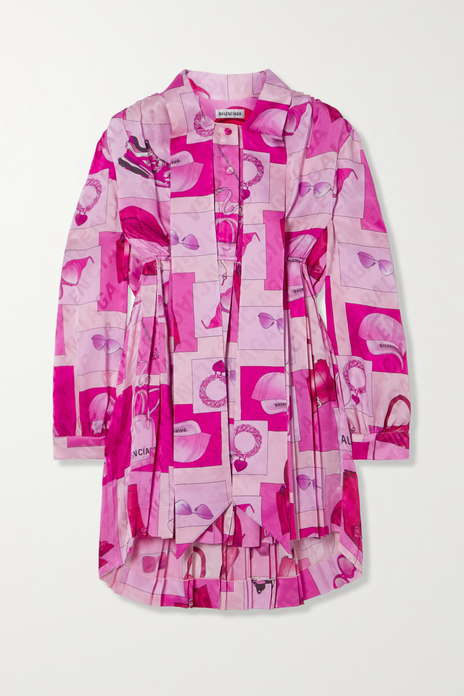 Balenciaga Pussy-bow pleated printed silk-jacquard mini dress