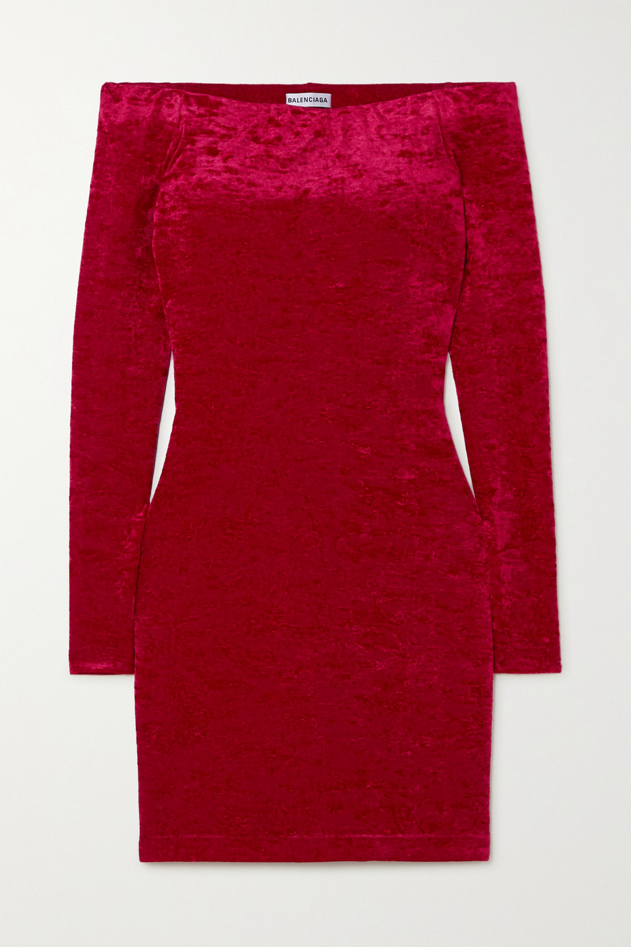 Balenciaga Off-the-shoulder layered stretch-crushed velvet mini dress