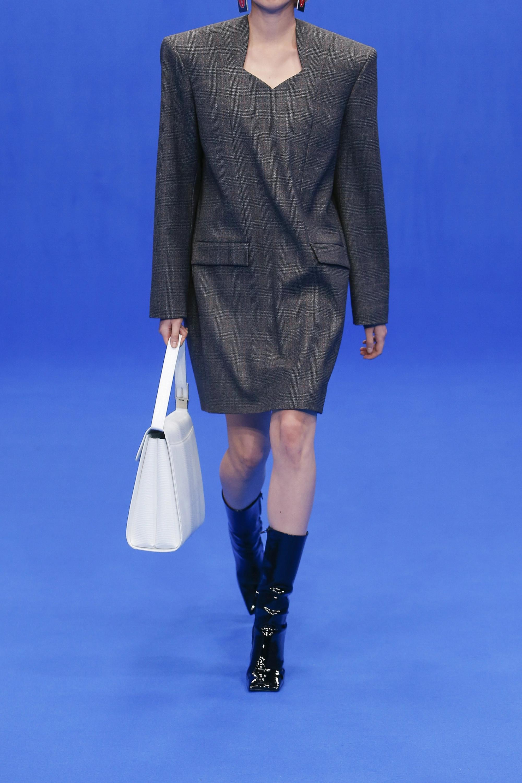 Balenciaga Oversized Prince of Wales checked wool mini dress