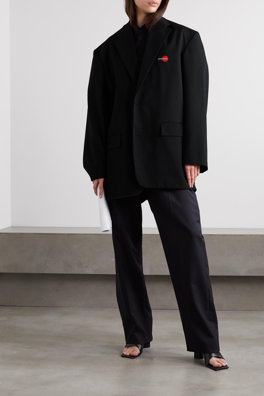 Balenciaga Oversized-Blazer aus Twill aus einer Wollmischung mit Stickerei