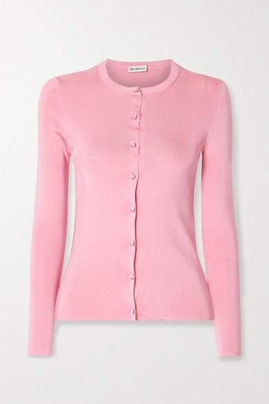 Balenciaga - Intarsia Ribbed-knit Cardigan - Pink