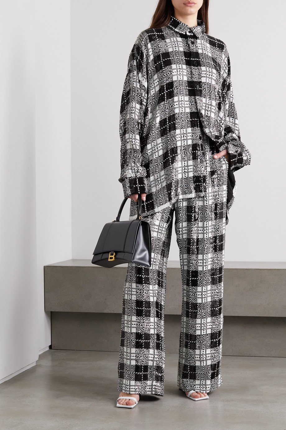 Balenciaga Checked sequined tulle wide-leg pants