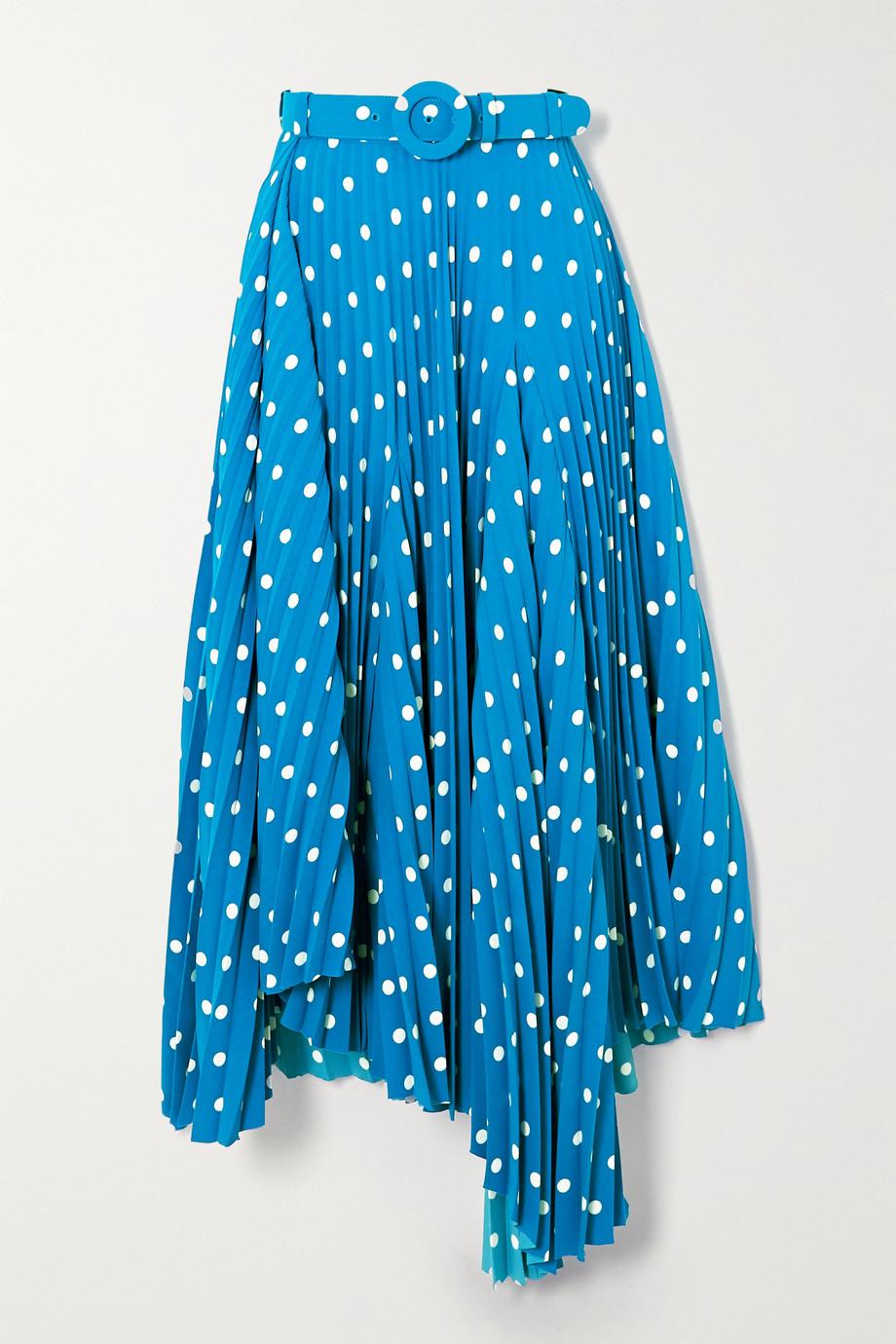 Balenciaga Belted asymmetric pleated polka-dot crepe midi skirt