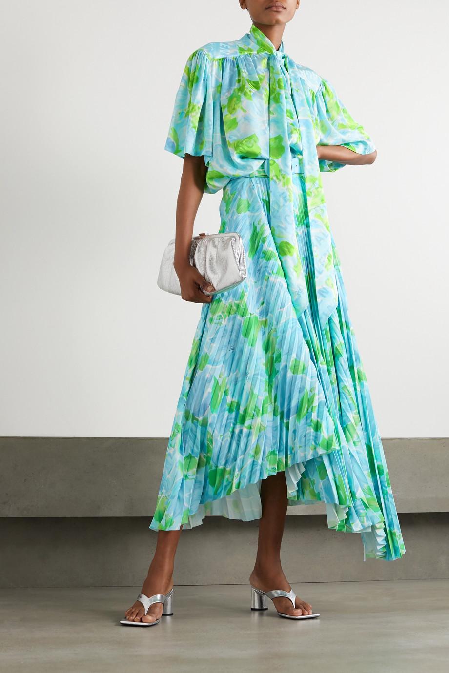 Balenciaga Jupe midi asymétrique plissée en crêpe à imprimé fleuri et à ceinture