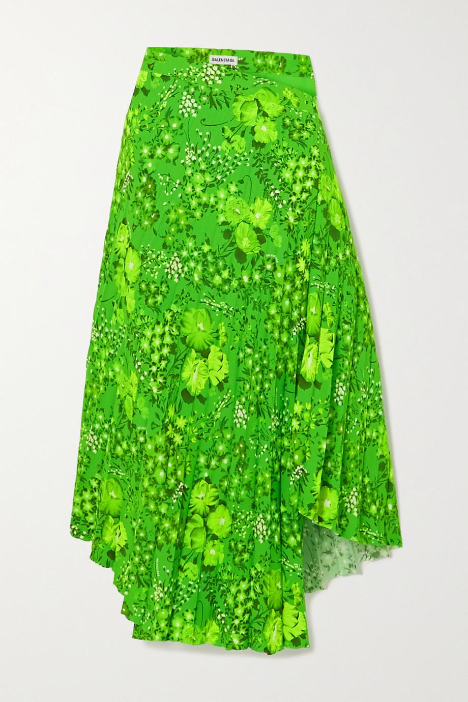 Balenciaga Asymmetric pleated floral-print crepe midi skirt