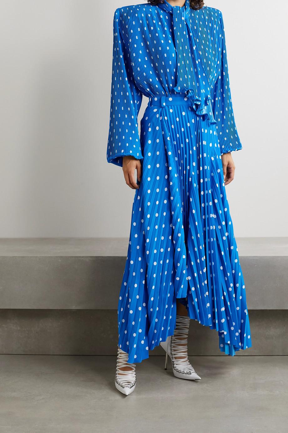 Balenciaga Dynasty pussy-bow polka-dot plissé-crepe blouse