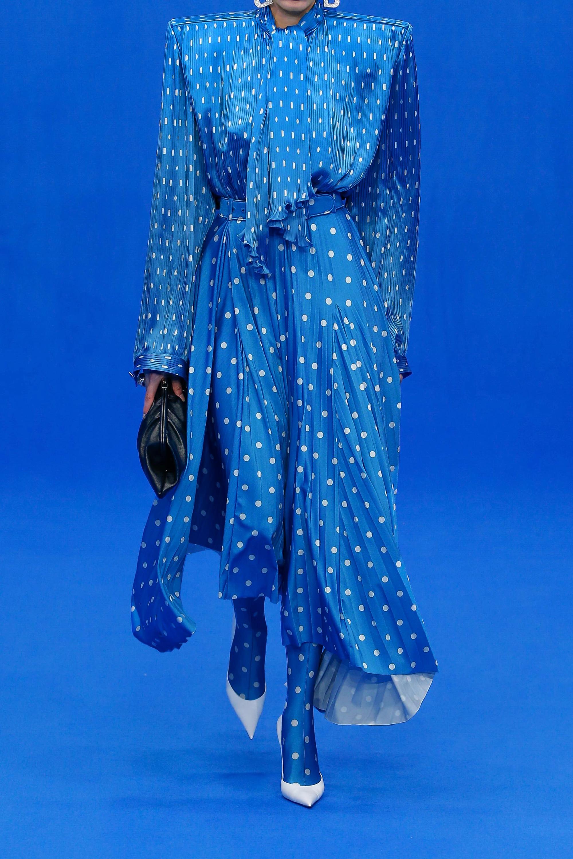Balenciaga Blouse en crêpe plissé à pois et à col noué Dynasty