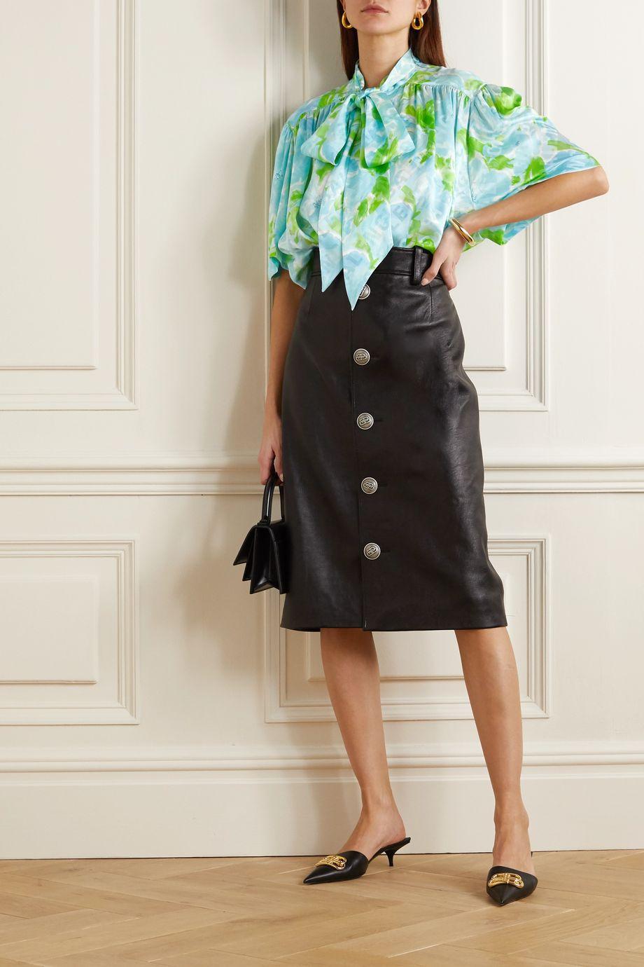 Balenciaga Pussy-bow floral-print silk-jacquard blouse