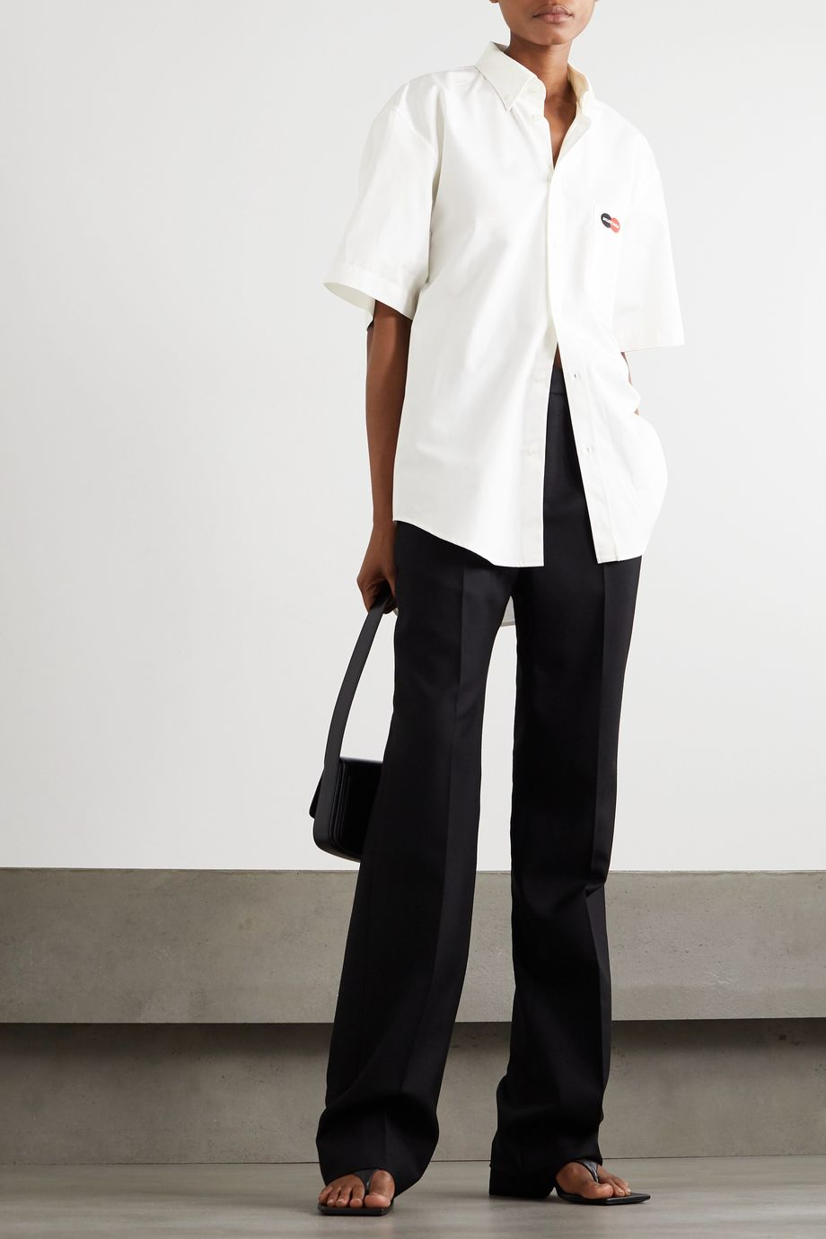 Balenciaga Oversized embroidered cotton-poplin shirt