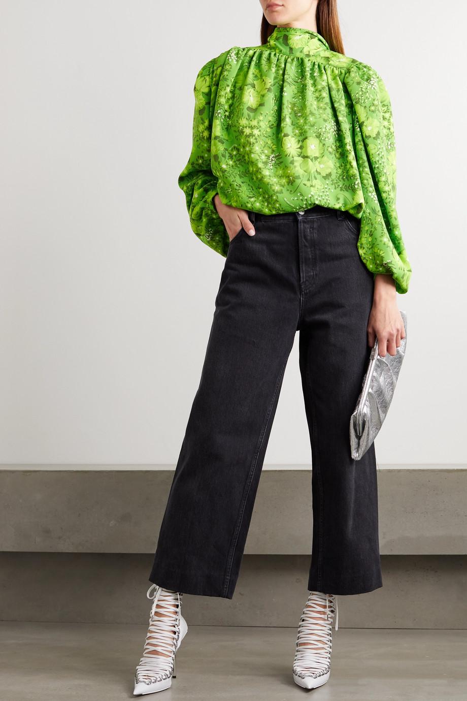 Balenciaga Floral-print crepe blouse