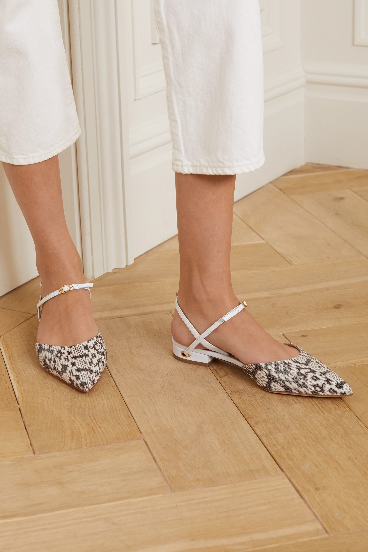 Jennifer Chamandi Vittorio 仿蛇纹皮革尖头平底鞋