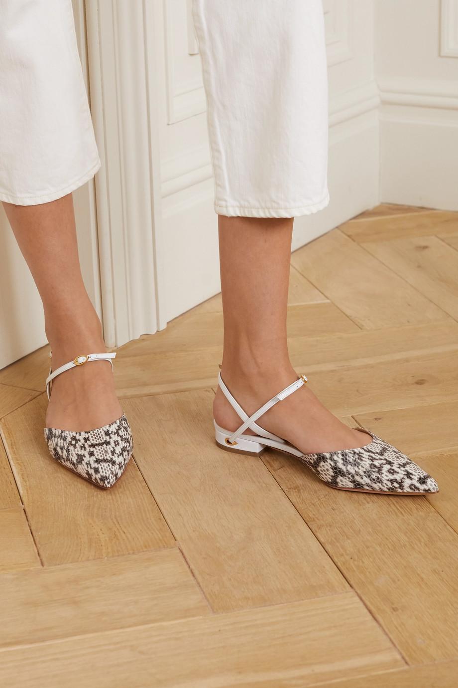 Jennifer Chamandi Vittorio snake-effect leather point-toe flats