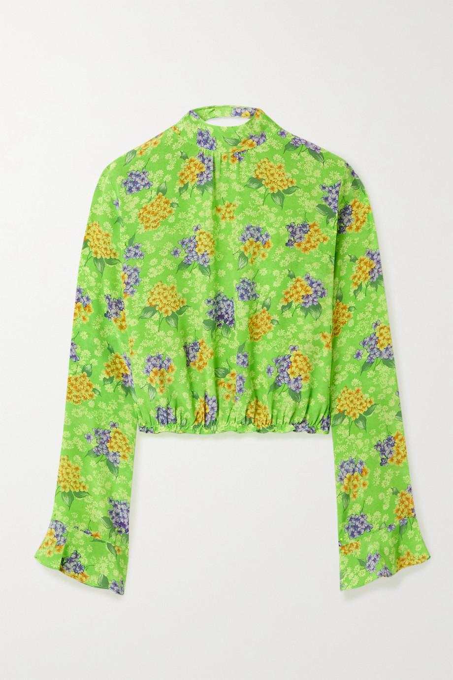 Les Rêveries Open-back floral-print silk-crepe blouse