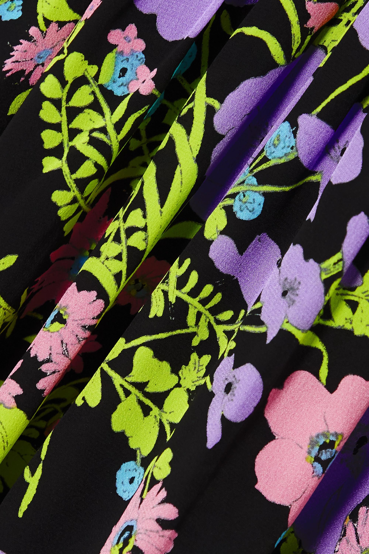 Violet Mini-robe En Soie À Imprimé Fleuri Et Ceinture Gigi | Les Rêveries