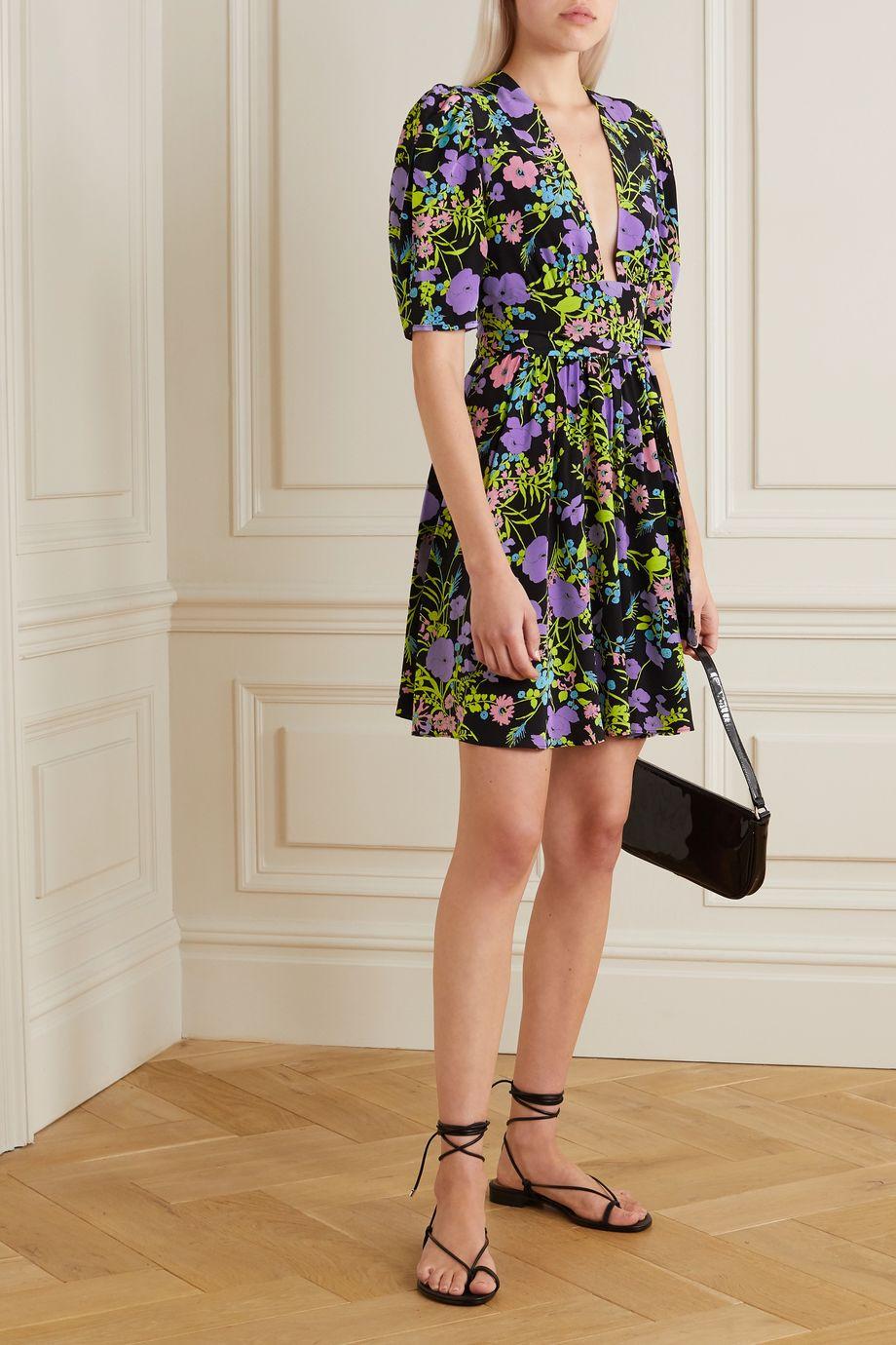 Les Rêveries Gigi belted floral-print silk mini dress