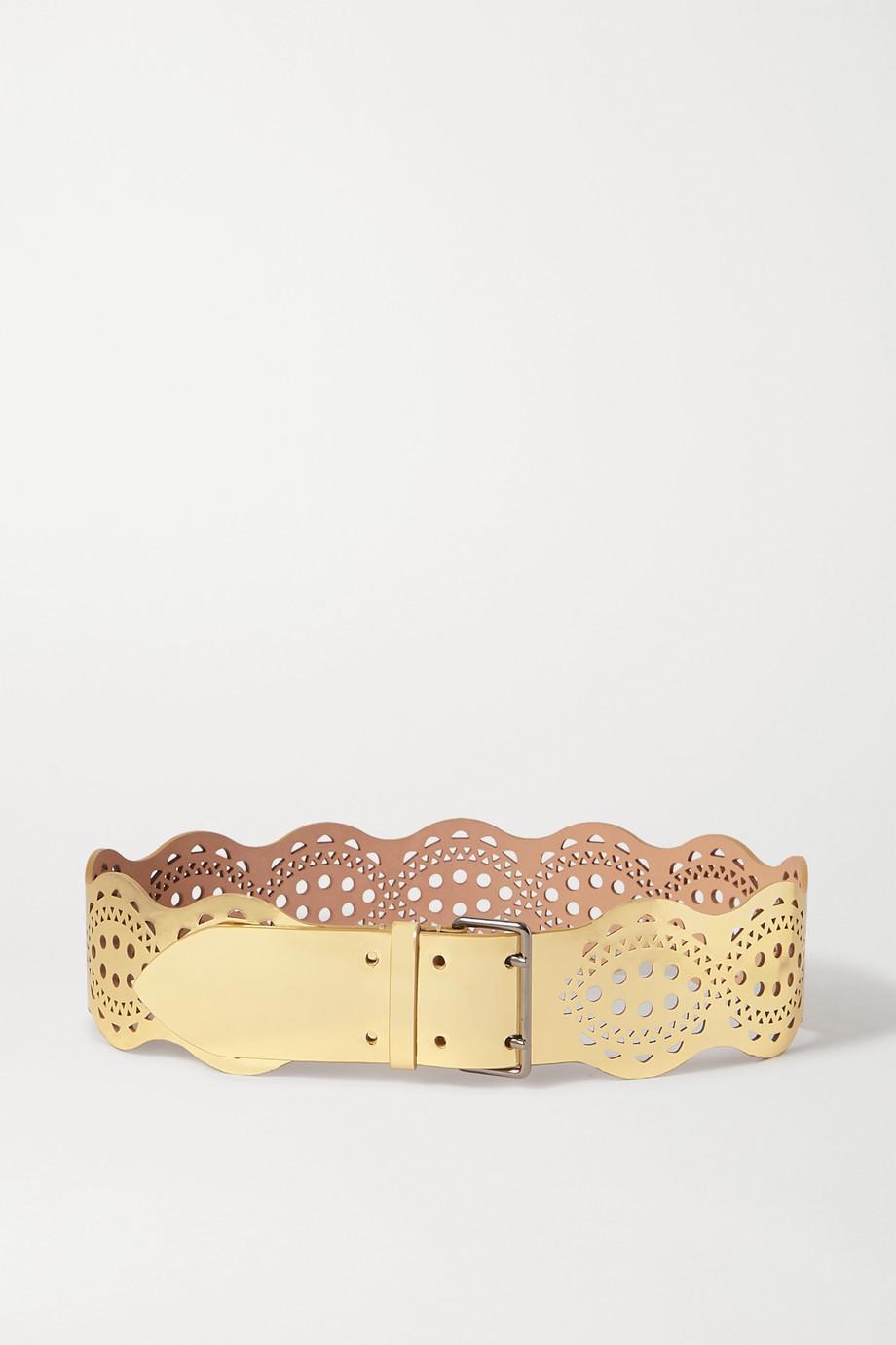 Alaïa Laser-cut metallic leather waist belt