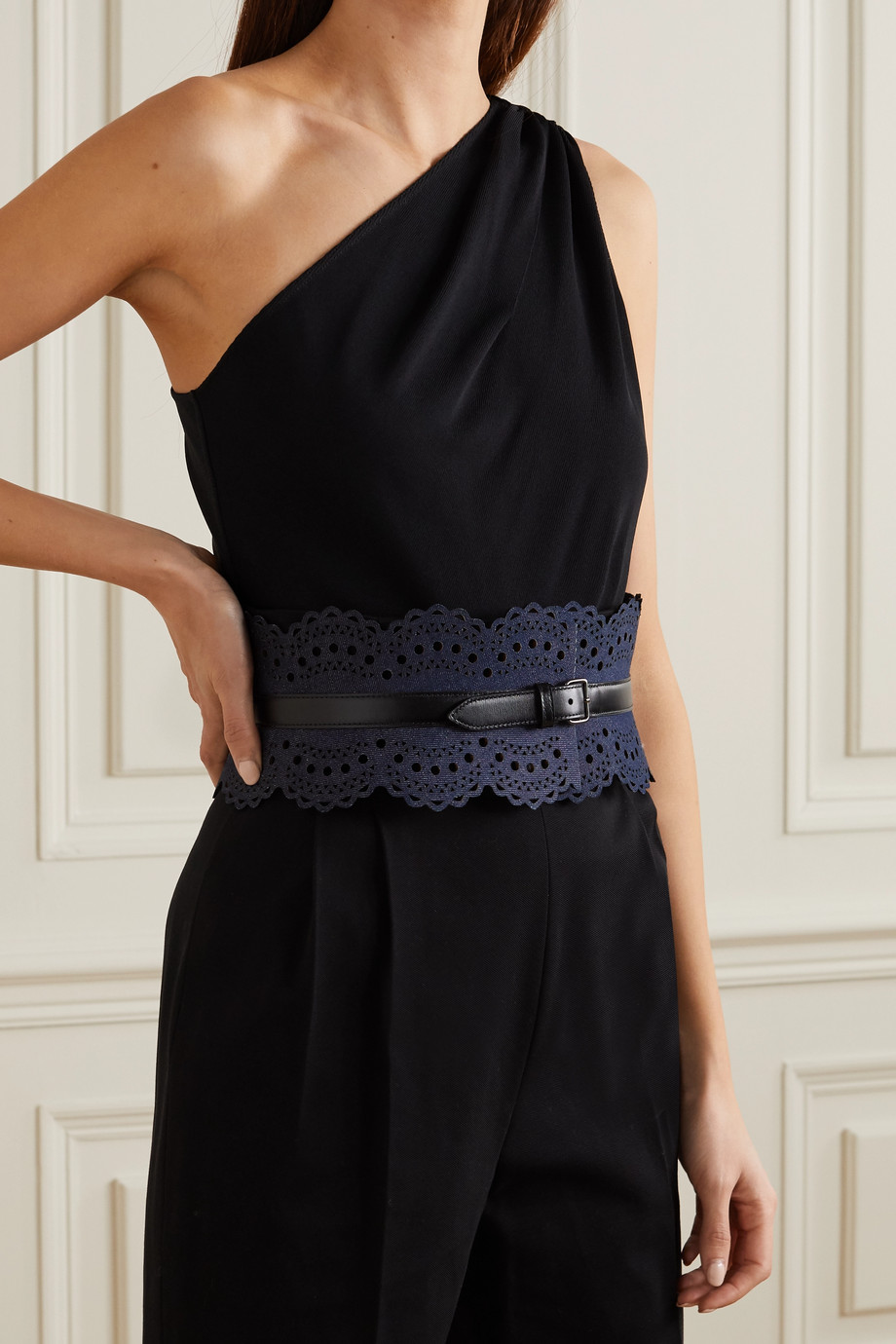 Alaïa Laser-cut denim and leather waist belt
