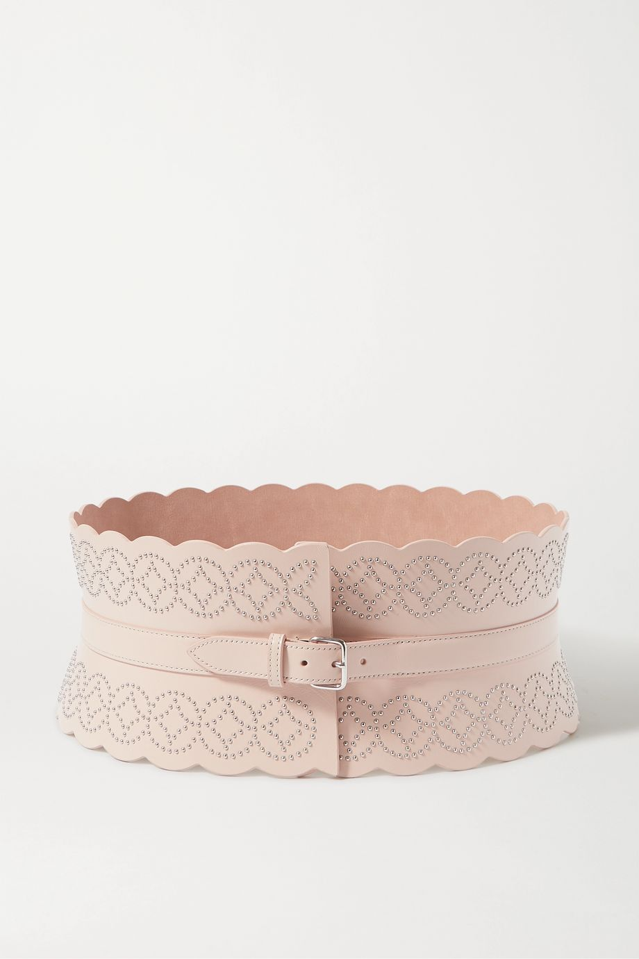 Alaïa Studded scalloped leather waist belt