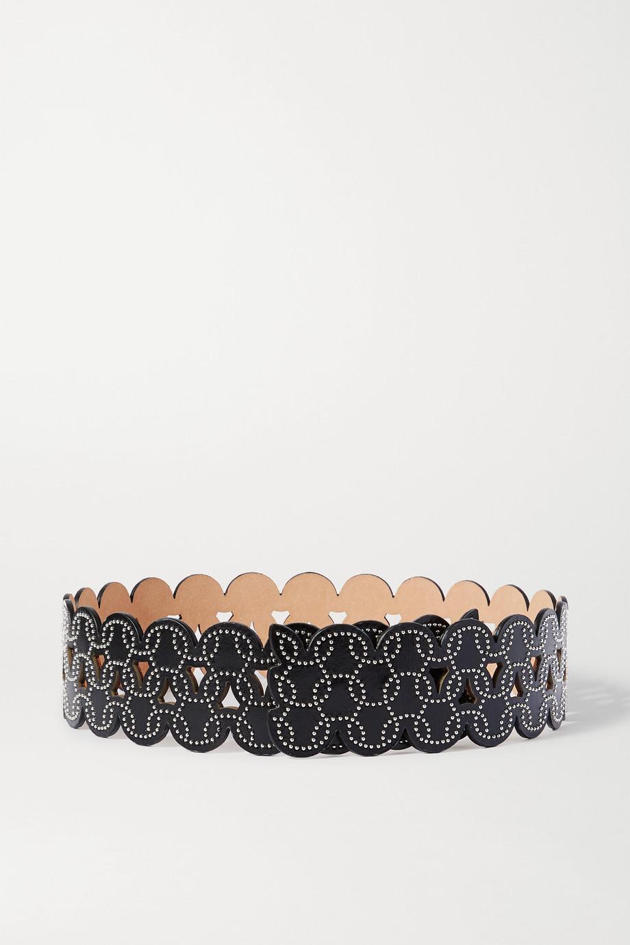 Alaïa Studded laser-cut leather waist belt