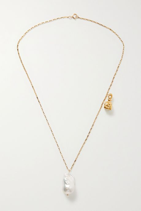 Gold The Anchor and The Baroque gold-plated pearl necklace | Alighieri 58GQqm
