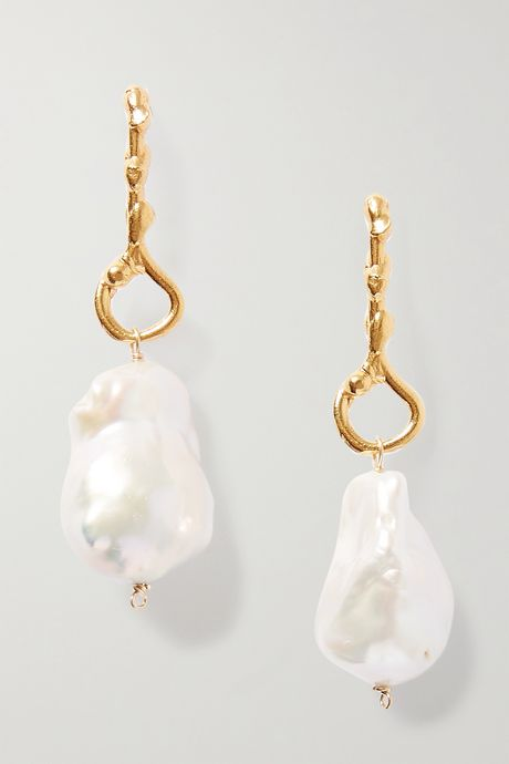 Gold The Olive gold-plated pearl earrings | Alighieri Uy0E8q