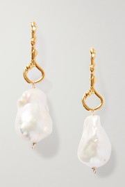 The Olive gold-plated pearl earrings