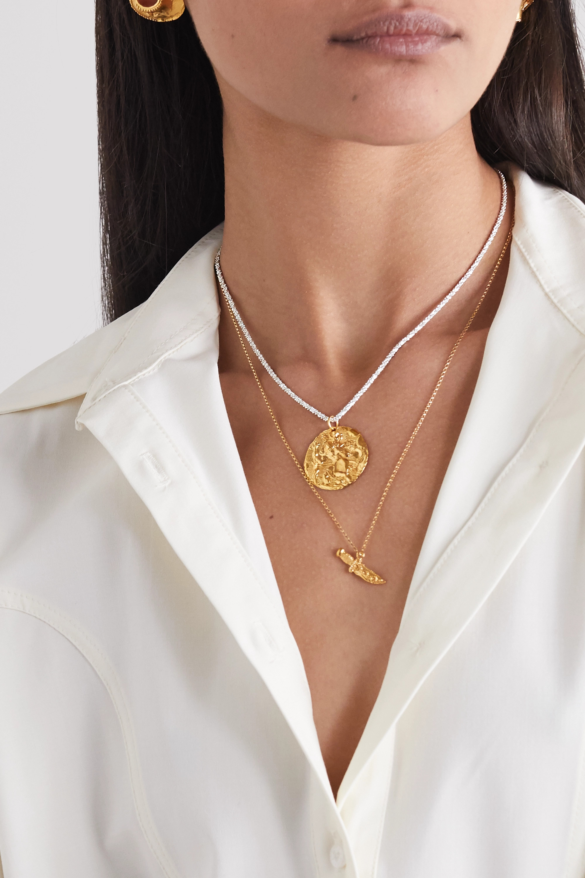Alighieri St. Christopher Chapter III gold-plated and silver necklace