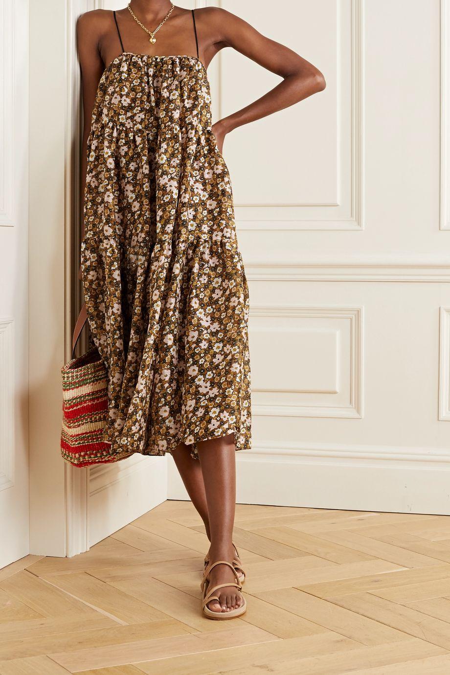 Lee Mathews Ariel tiered floral-print linen and silk-blend maxi dress