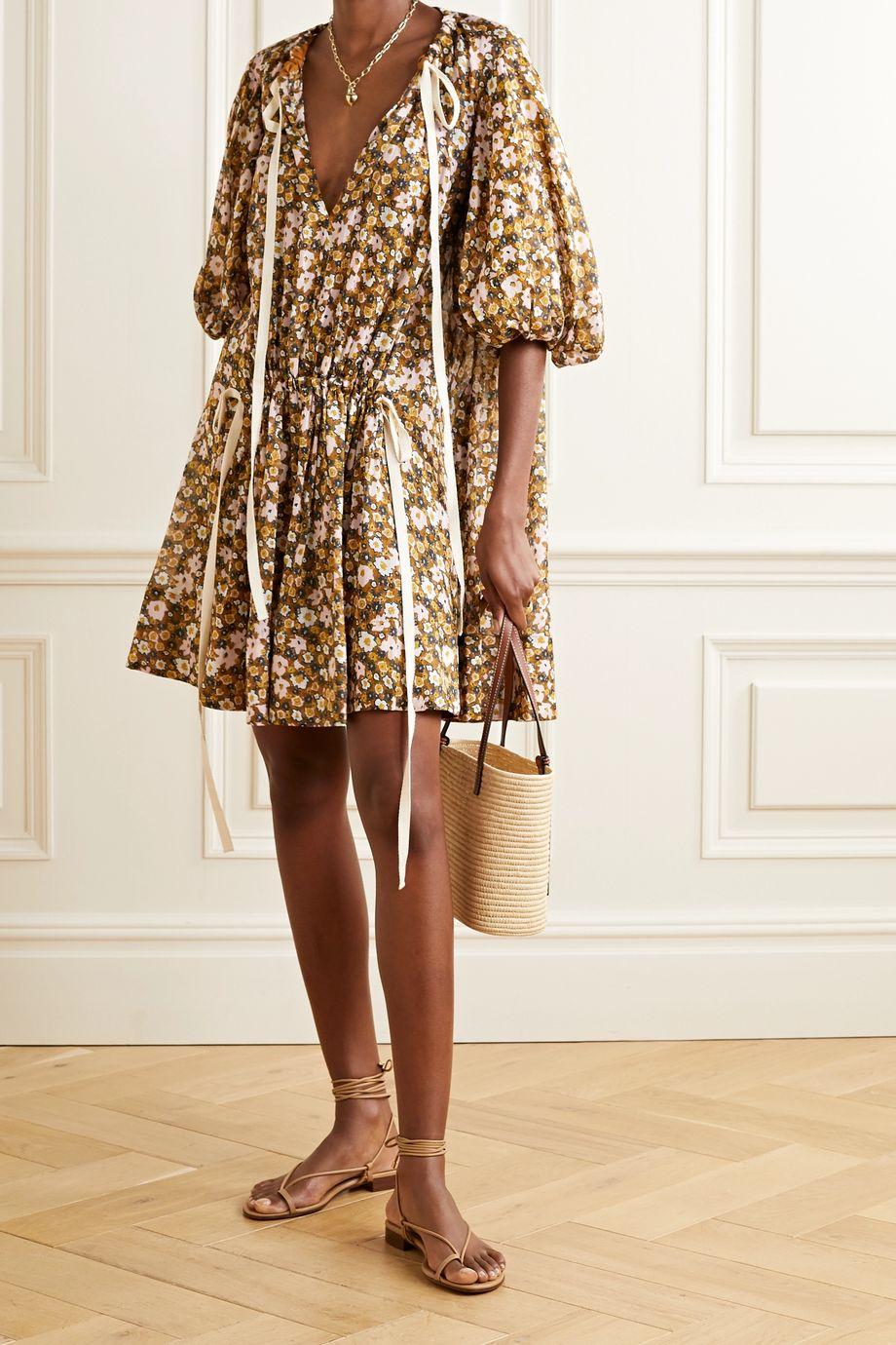 Lee Mathews Ariel tie-detailed floral-print linen and silk-blend mini dress