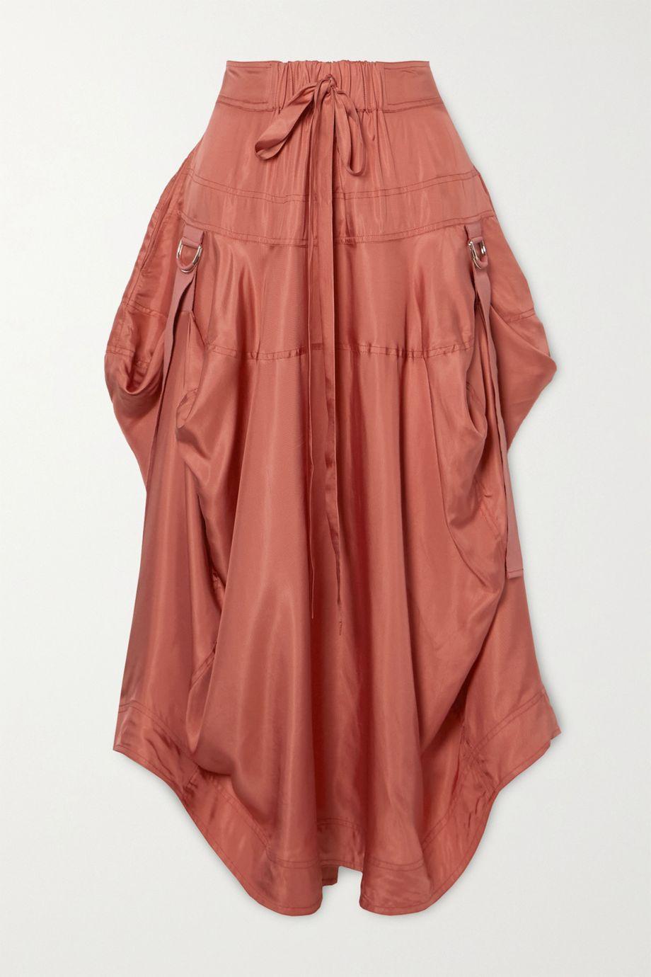 Lee Mathews Edie draped satin-twill midi skirt